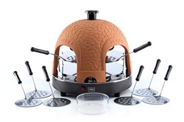 Trebs 99301 Pizzaofen mit Terrakottakuppel für 8 Personen, Pizzadom, 950 Watt, Zubereitung in nur 5 - 7 Minuten -